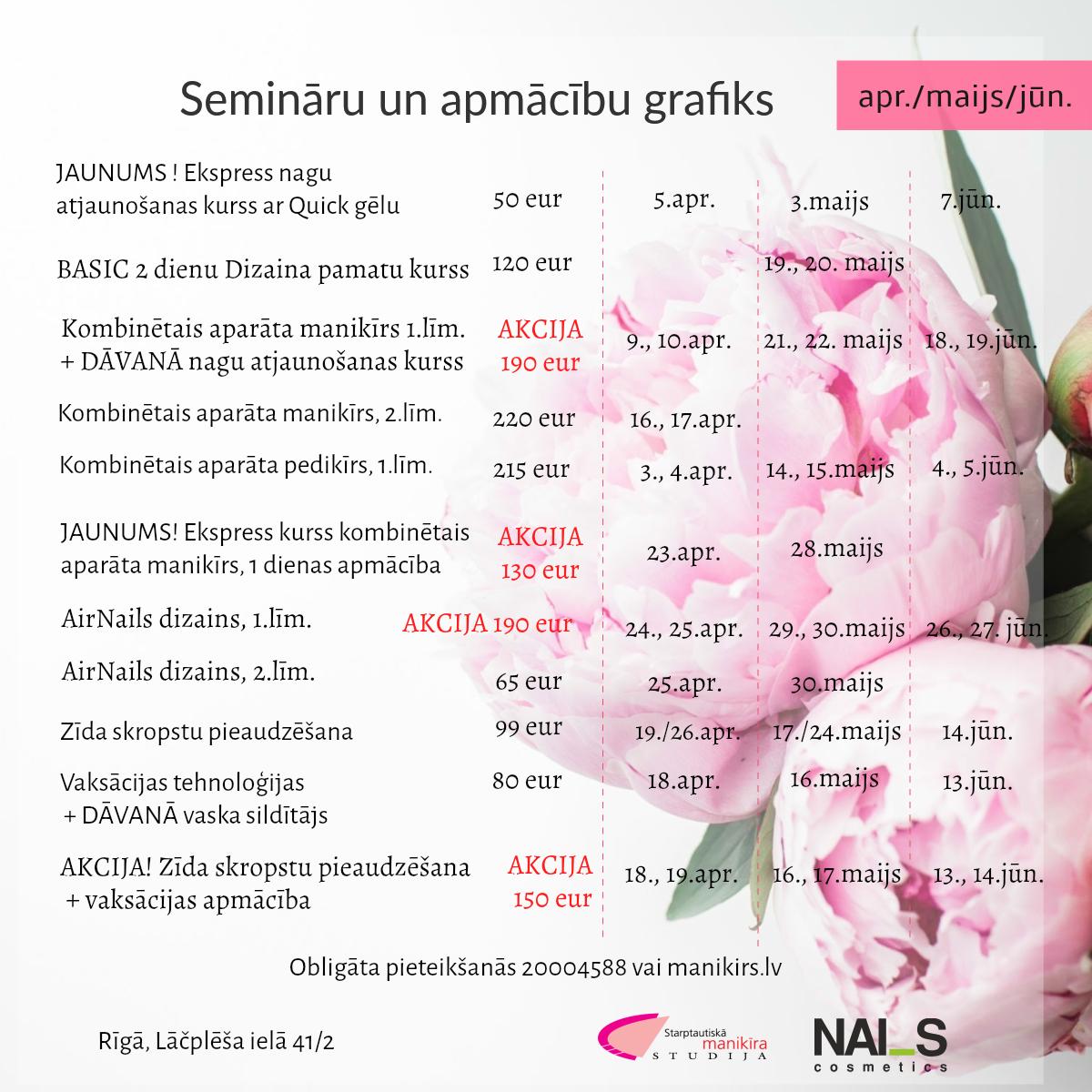 Semināru un meistarklašu plāns pavasarim – aprīlis/maijs/jūnijs